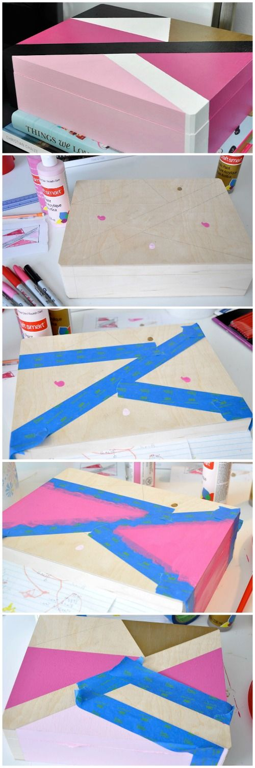Painted geometric pattern wooden boxes | Honey We're Home