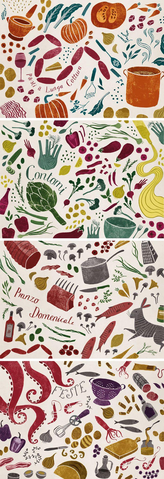 Food illustrations for Gennaro Contaldo by Sara Mulvanny