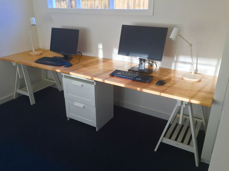 long home office desk made from two ikea gerton beech table tops with support from two ikea. Black Bedroom Furniture Sets. Home Design Ideas