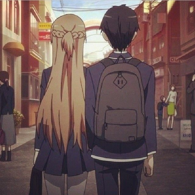 Kirito <3 Asuna. I love this couple, but to be honest I am not so into SAO as much. I loved the first season, then it seemed to go way to fast. Good anime, but I think it was rushed a little.