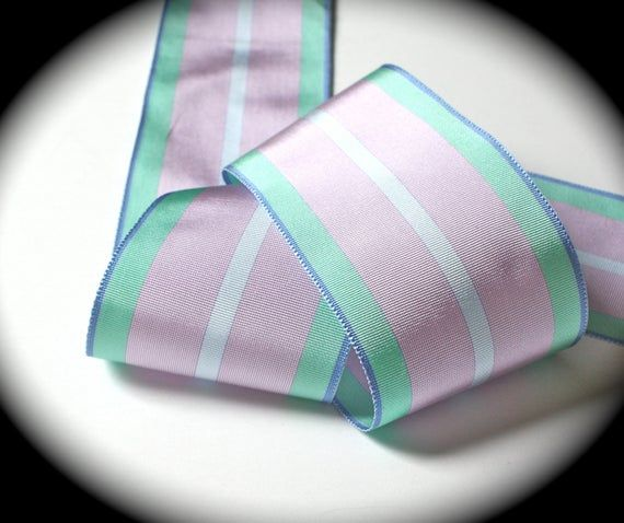 "5 Yards Perwinkle Blue Green Pink Plaid Wired Ribbon 1 1//2/""W"