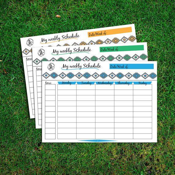 Мой еженедельный график, A4 и A5 размер, Homeschool планировщик, Расписание, Еженедельный Планировщик печати, семья планировщик, Daily To Do List, три цвета