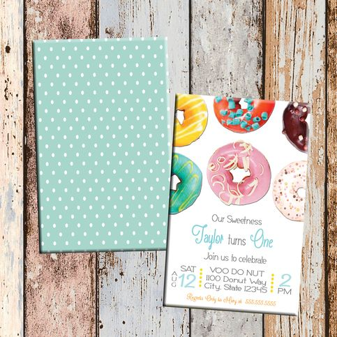 Donut Sweets Personalized Birthday Invitation 2 Sided Card Party