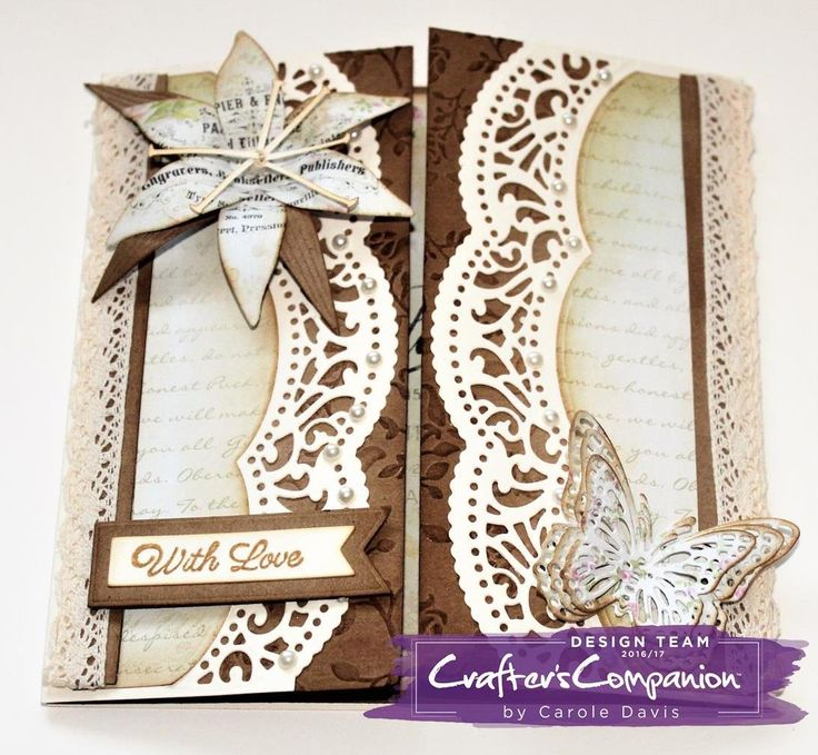 Gatefold Card made using Sara Signature Shabby Chic Collection - Classic Lily, Chic Butterflies and Antique Edge dies; Cherished Moments Stamp and Die set. Designed by Carole Davis  #crafterscompanion #shabbychic