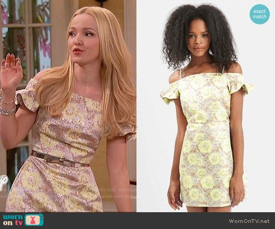 Liv's floral ruffle sleeved dress on Liv and Maddie.  Outfit Details: https://wornontv.net/57100/ #LivandMaddie