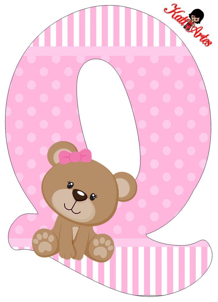 Alfabeto de tierna osita con fondo rosa. | Oh my Alfabetos!