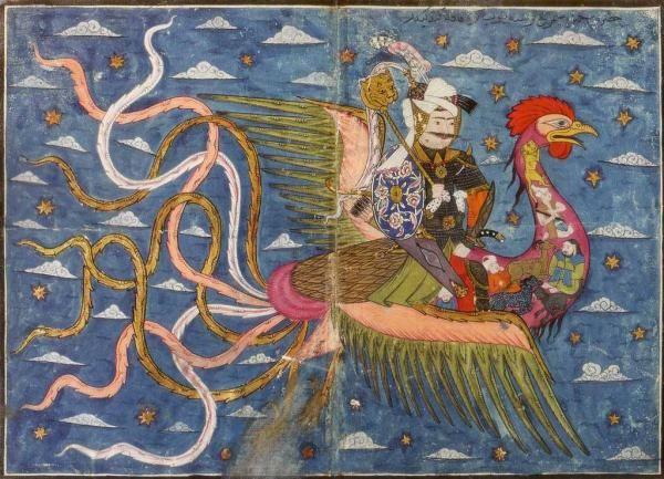 Hamza bin Abdulmuttalib ebâbil üzerinde kâf dağına doğru uçuyor. Nakkaş Osman Topkapı Sarayı Müzesi - 1582