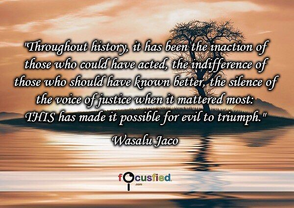 """""""Throughout history it has been the inaction of those who could have acted the indifference of those who should have known better the silence of the voice of justice when it mattered most: THIS has made it possible for evil to triumph."""" #Quote #Motivation #Inspiration #Courage #quotesdaily #quotesforlife #quotes #quotes"""