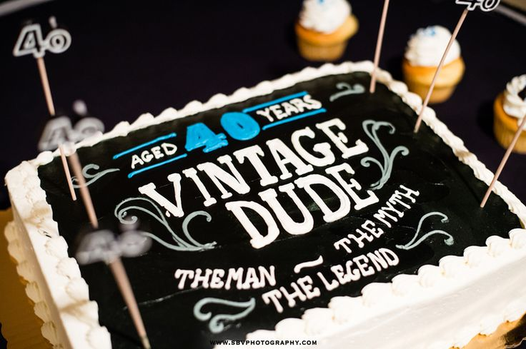 A 40 Year Vintage Dude Birthday Cake