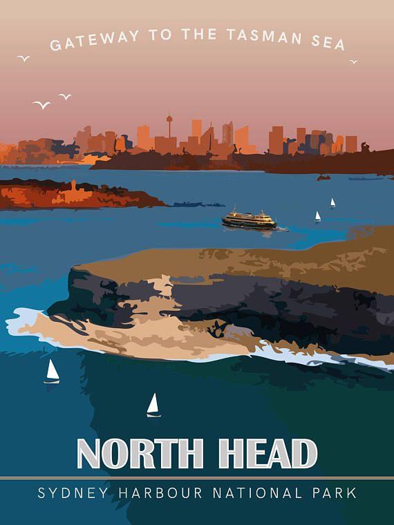 North Head Manly Sydney Harbour Australia Vintage Travel Poster Diy Printable Pdf Jpeg Download Travel Posters Posters Australia Vintage Travel