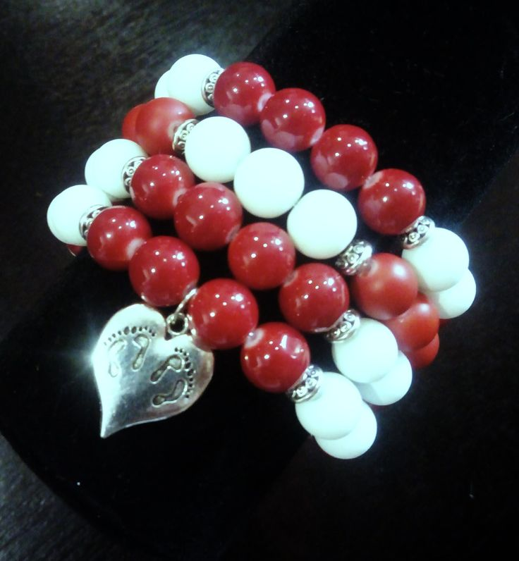 Red and white quadruple heart bracelet