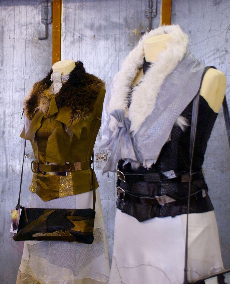 Unique dresses made of different skin from fish and reindeer. It is made of designer Ágústa M. Arnardóttir. Read the reportage about her and the philosophy behind her clothes at www.ulrikanilsson.se  #Arfleifð #ÁgústaMArnardóttir #heritage #iceland #dresses #icelandicfashion