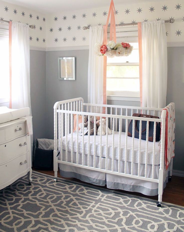 Peachy Pink White And Grey Baby Nursery Decorating Ideas For A