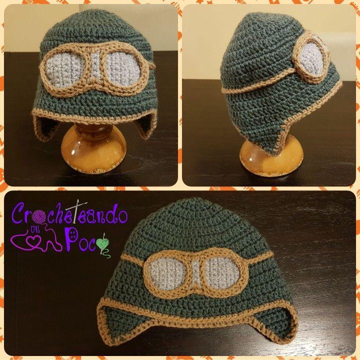 Gorro a crochet - Aviador. T: 2 años