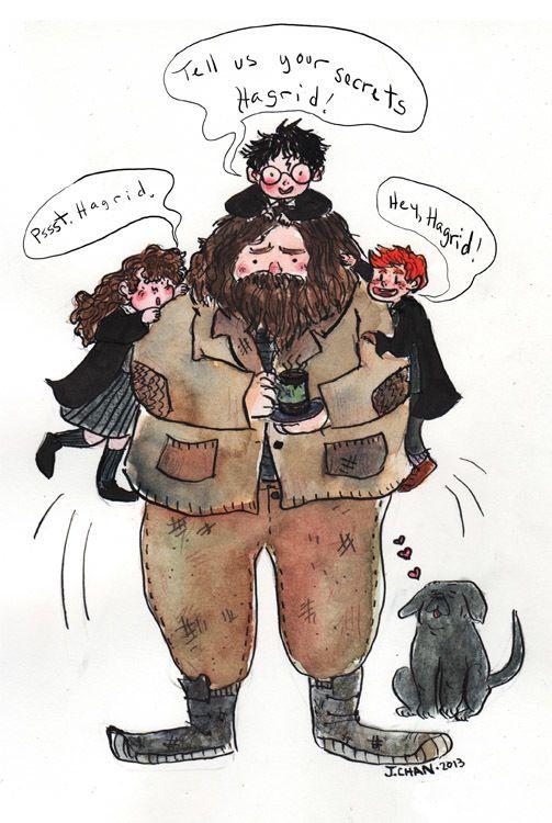 Hermione Granger, Harry Potter, Ron Weasley, Rubeus Hagrid & Fang | art by Jennifer Chan