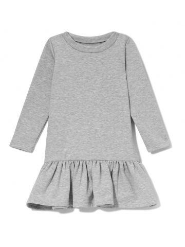 Sugarfree Girls - sukienka Lily w kolorze szarym sukienka dziecięca z falbaną z długim rękawem, takie same ubrania dla mamy i córki