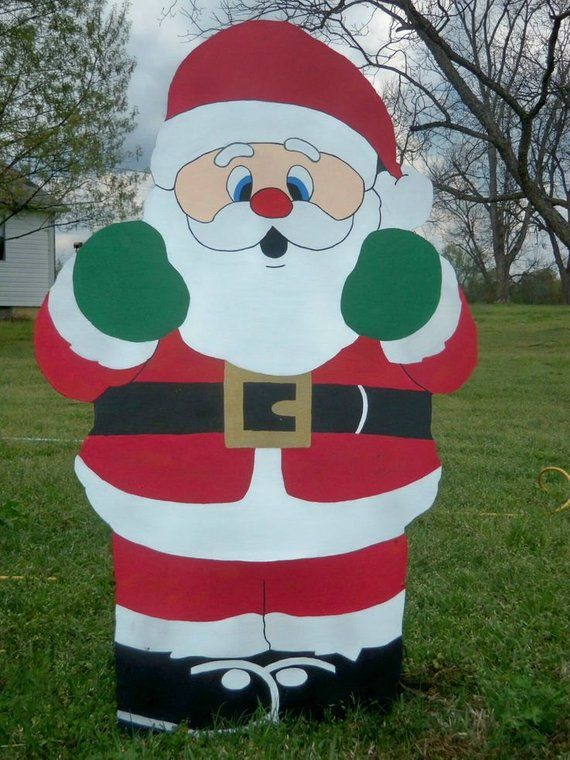 Santa Yard Art Decoration Wood Christmas Yard Art Decoration