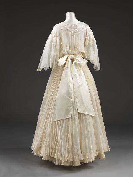 Wedding dress, Zandra Rhodes, 1976, English, silk chiffon pleated with applied plastic flowers and leaves
