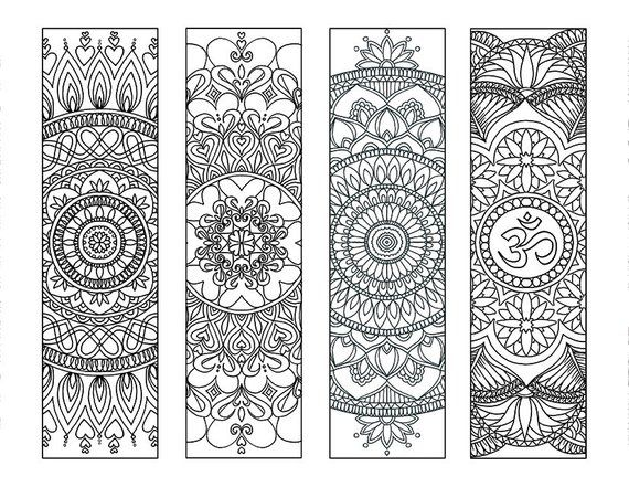 4 Mandala Colouring Bookmarks Set 2 Instant Download Printable Meditation Peace Joy Stress Re Coloring Bookmarks Book Markers Mandala Coloring