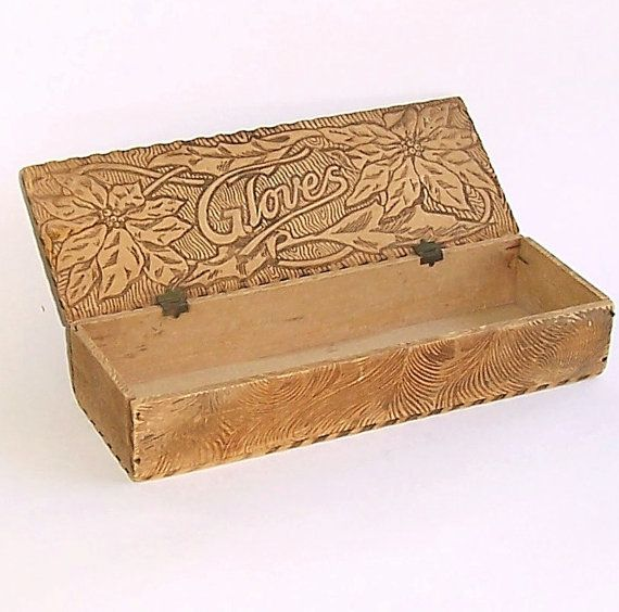 Wooden Glove Box ~ Victorian pyrography glove box vintage wood burning