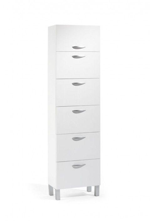 Mueble auxiliar multiusos 50 cm blanco 2 cajones, 3 abatibles y 1