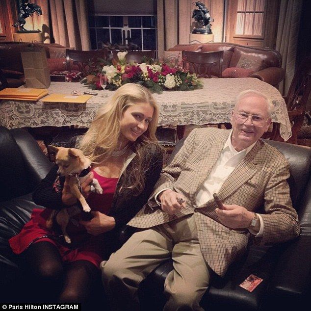 'He is such an incredible man': Paris later posed next to her grandfather Barron Hilton fo...