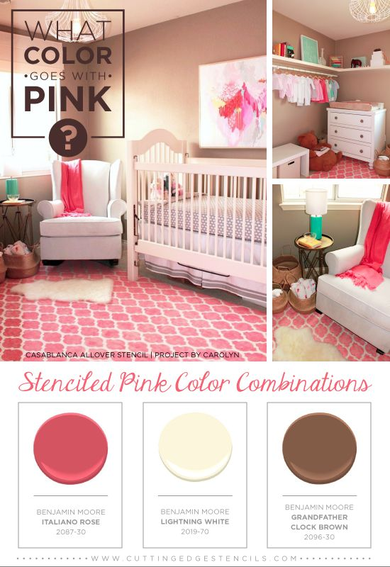 Stenciled Pink and brown color combination using the Casablanca Stencil and Benjamin Moore Paints! http://www.cuttingedgestencils.com/allover-stencils.html