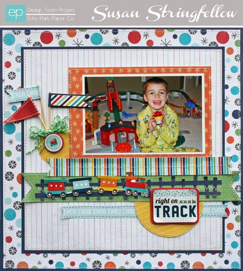 "Susan Stringfellow's Echo Park Paper layout using ""Scoot"" Collection"