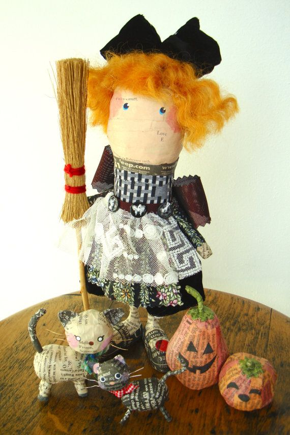 Miki Ono hand made red hair witch with a black cat, a white cat and 2 jack-o-lanterns, paper marche doll, black ribbon