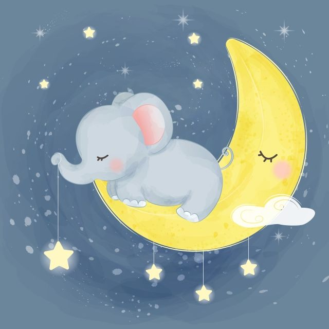 Cute Elephant And The Moon Adorable Adorable Animals Animal Png And Vector With Transparent Background For Free Download Cute Animal Illustration Animal Illustration Kids Baby Art