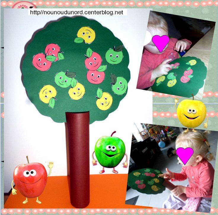Le  pommier réalisé par Maïa 18 mois qui a bien collé  les gommettes pommes.