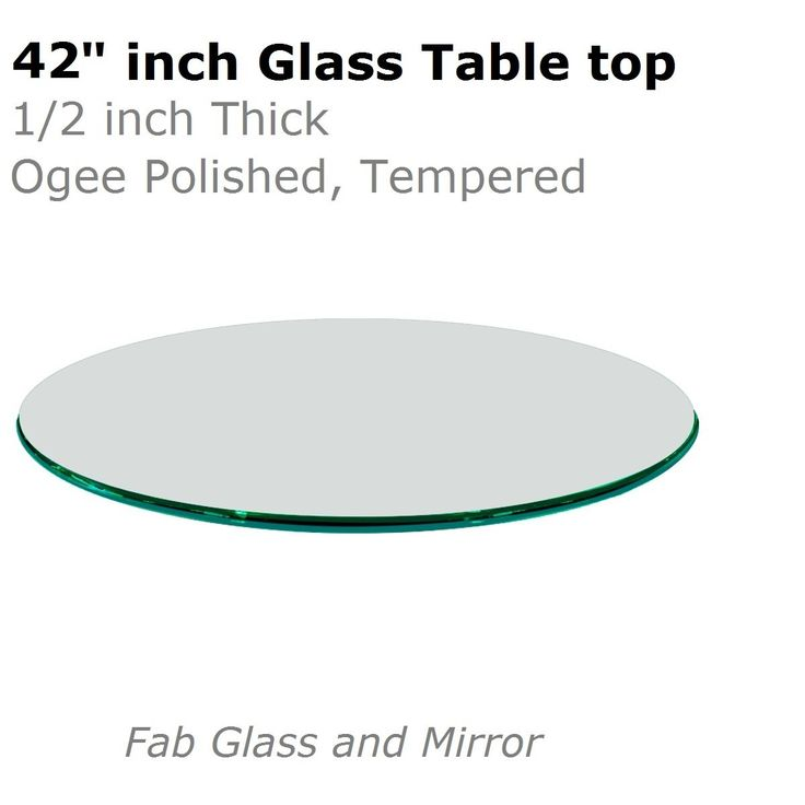 """Fab Glass and Mirror 1/2"""" Thick Ogee Tempered Round Glass Table Top, 42"""""""