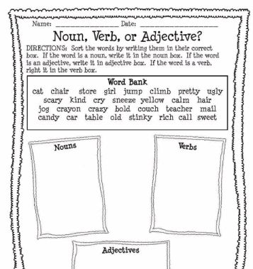 Classifying Nouns Verbs And Adjectives Worksheets Answers ...