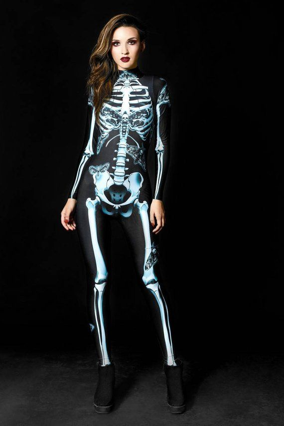 0298308355eee Free Express Shipping_DARK SKELETON Halloween Costume, Gothic Skeleton  Costume, Adult Skeleton Catsu