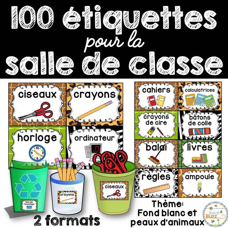 100 étiquettes pour vous aider à organiser votre matériel dans votre salle de classe à la rentrée! 2 formats offerts! Thème de ces étiquettes pour la classe: fond blanc et peaux d'animaux!