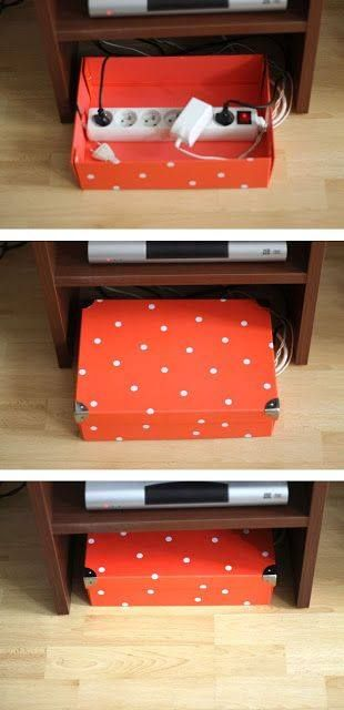 Hide cords in pretty box. Check if it's a fire hazard first