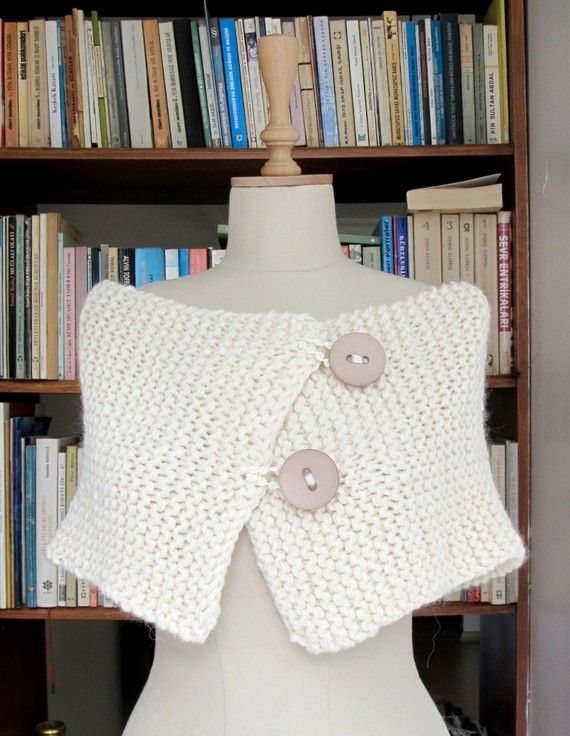 Knitting Hand Knitted Capelet Neckwarmer Ivory by crochetbutterfly, $50.00