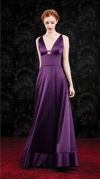 Las Oreiro - vestido de fiesta largo purpura invierno 2016