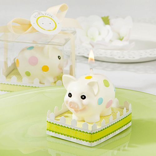 When this little piggy went to the market, he was looking for an adorable way to say thanks to all the guests at the baby shower, and he found this adorable piggy candle favor shaped like the old traditional piggy bank.