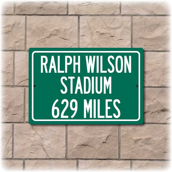 Personalized Ralph Wilson Stadium Highway Distance by Travelsigns, $19.95