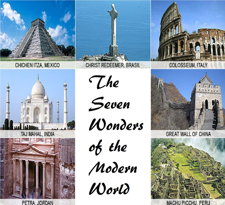 The Seven Wonders Of The Modern World Various Famous People Places And Things Pinterest