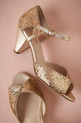 gold glitter heels from BHLDN