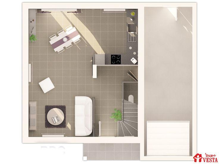 Plan du rez-de-chaussée du modèle Marquises (modèle à étage)