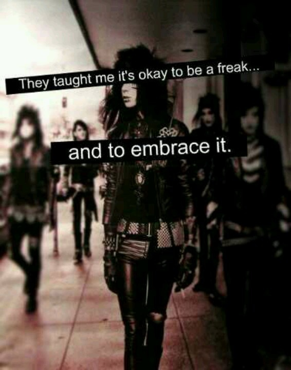 I'm proud to be a freak, I'm proud to be different, but most of all I'm proud to be a member of the bvb army.