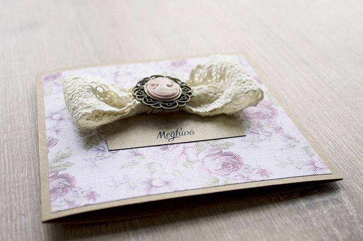 rustic wedding invitation, wedding invitation with lace, flocked wedding invitation, wedding invitation with vintage cameo, wedding invitation with vintage roses