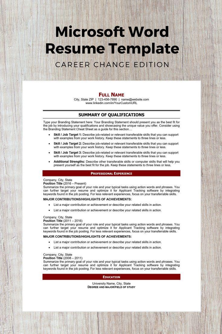 Career Change Edition Modern Resume Template Microsoft Word