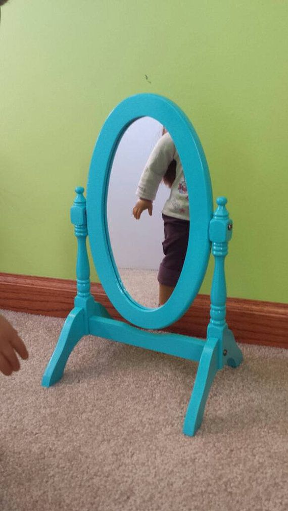 This listing is for one oval full length mirror for your American Girl or other 18 inch doll. This is a one of a kind upcycled mirror that is teal in