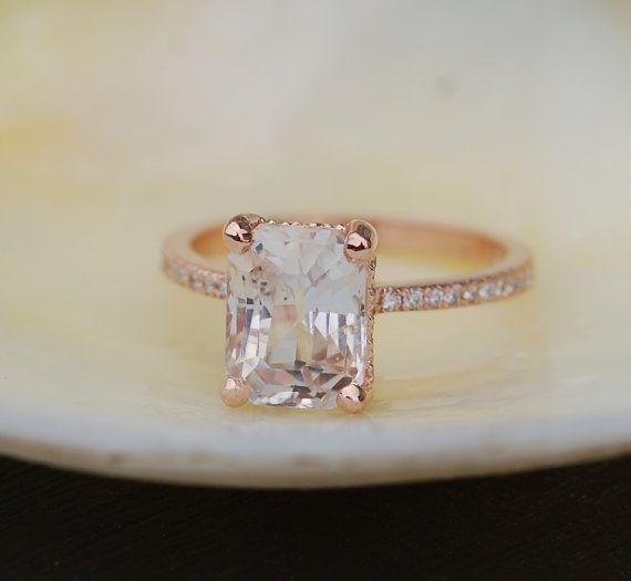 Blake Lively diamant en or blanc saphir bague de fiançailles émeraude coupe 14k rose bague 3,11 ct bague en saphir