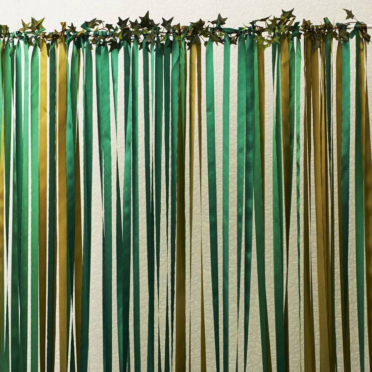 Ready To Hang Ribbon Curtain Backdrop Woodland Greens