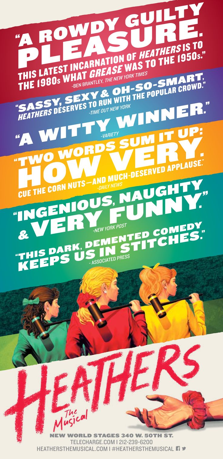 Heathers The Musical now playing in New York.  Pinterest friends - contact me for house seats.